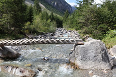 Footbridge in Lech Valley Royalty Free Stock Photography