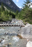 Footbridge in Lechtal Valley Stock Image