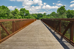 A Footbridge on a Local Greenway Stock Photography