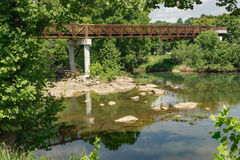 A Footbridge on a Local Greenway Stock Image