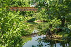 A Footbridge on a Local Greenway Stock Photo