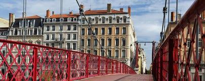 footbridge Lyon czerwieni widok Obrazy Royalty Free