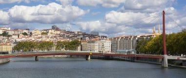 footbridge Lyon czerwieni widok Zdjęcia Royalty Free