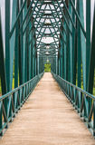 Footbridge with  metal structure Stock Photos