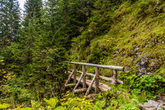 Footbridge in mountain. Photo was taken in High Tatras mountains on Polish side ,Poland royalty free stock photography