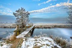 Footbridge nad Zamarzniętym kanałem w prowinci Drenthe Obraz Royalty Free