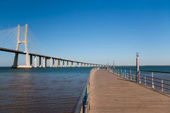 Footbridge near the bridge Vasco de Gama Stock Photo