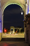 Footbridge by night in Lyon (France) stock image