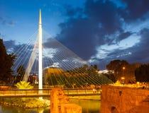 Footbridge in night. Murcia Stock Photo