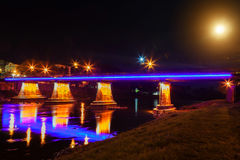 Footbridge Night Uzhgorod Ukraine river lights Stock Photography