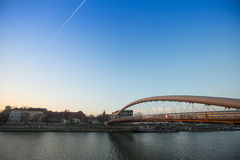 Footbridge Ojca Bernatka - bridge over the Vistula River. Royalty Free Stock Photos