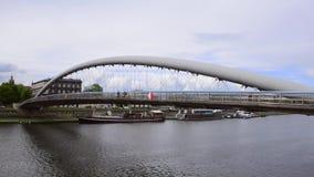 Footbridge Ojca Bernatka in Krakow, Poland stock video
