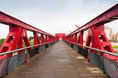 Footbridge over Ebre river. Tortosa Royalty Free Stock Images
