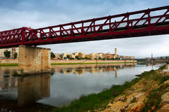 Footbridge over Ebre river in Tortosa, Spain Royalty Free Stock Photo