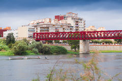 Footbridge over Ebre in Tortosa Stock Images