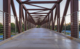 Footbridge over Irvine California. In the evening close to sunset in summer Stock Images