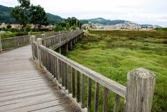 Footbridge. Over a marsh in Baiona, Spain Royalty Free Stock Photo