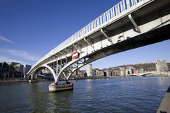 Footbridge over the Meuse river, Liege. Belgium Stock Photography