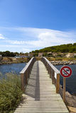 Footbridge over a pond in Gruissan Royalty Free Stock Images