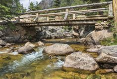 Footbridge Over the Pool on Big Thompson River Stock Photo