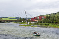 Footbridge over the river Dunajec, Poland/Slovakia Royalty Free Stock Image