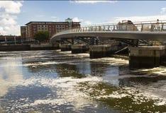 The footbridge over the  River Lagan in the harbour estate in Belfast Northern Ireland Stock Image