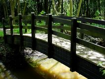 Footbridge over river. A narrow footbridge crossing a river Stock Photos