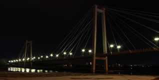 Footbridge. Over the river at night Royalty Free Stock Photography