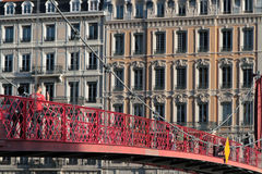 Footbridge over Saone river in Lyon Stock Image