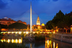 Footbridge over Segura  with Cathedral in background in night Royalty Free Stock Photos
