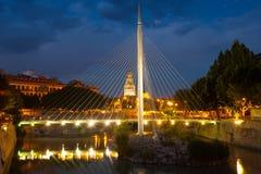 Footbridge over Segura in night. Murcia, Spain Stock Photography