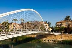 Footbridge over Segura river called  Puente de Vistabella. Mur Stock Photography