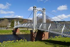 Footbridge over the Tweed, Peebles Stock Image