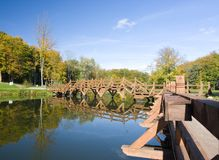 Footbridge over waterway Royalty Free Stock Photos
