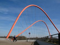 Footbridge in a park. Footbridge in the Nordsternpark in Gelsenkirchen, Germany Royalty Free Stock Photos