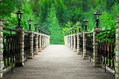 Footbridge in park Stock Image