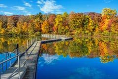 Footbridge Przez jezioro Obraz Royalty Free