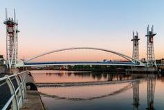 Footbridge salford quays. Millennium Bridge or the Lowery Bridge is a lift bridge provides pedestrian over the Manchester Ship Canal Stock Images
