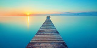Free Footbridge Sea Beach Meditation Journey Calm Hormone Sunset Sea Yoga Stock Photos - 128381503