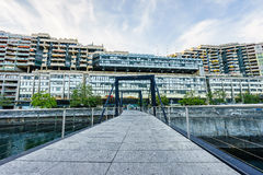 Footbridge on Seujet dam, Geneva, Switzerland Stock Image