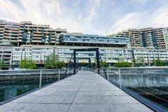 Footbridge on Seujet dam, Geneva, Switzerland Stock Image