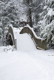 Footbridge, Snowy Landscape. Gatlinburg, Tennessee stock image