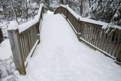 Footbridge, Snowy Landscape Royalty Free Stock Photography