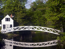 Footbridge, Somesville, Maine. A beautiful white arching footbridge and its reflection in Somesville, Mt. Desert Island, Maine Royalty Free Stock Photos