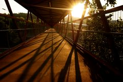 Footbridge sunrise B Royalty Free Stock Images