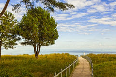 Footbridge to the Baltic Sea beach of Binz, island of Ruegen Stock Photo