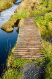 Footbridge to Eilean Mor Loch Finlaggan Stock Photos