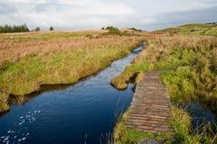 Footbridge to Eilean Mor Loch Finlaggan Stock Image