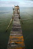 Footbridge to the fisherman hut Royalty Free Stock Photo