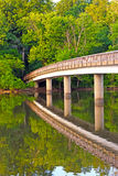 Footbridge to the Theodore Roosevelt Island. Royalty Free Stock Photo